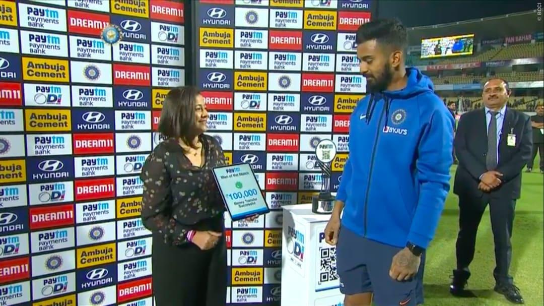 Image result for kl rahul man of the match cash donate